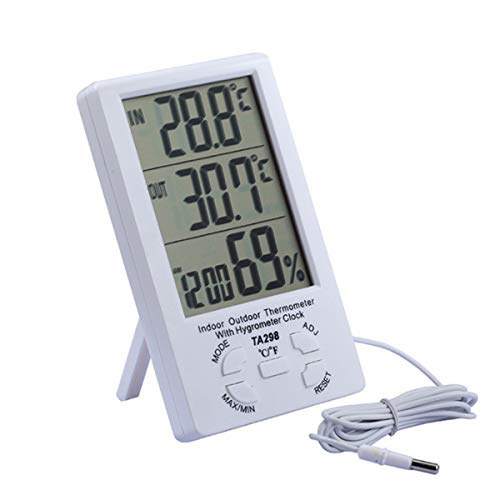 Sevenshop Großbild-Thermometer Hygrometer Indoor Outdoor Digitalanzeige Dual Temperature Dispreizthermometer