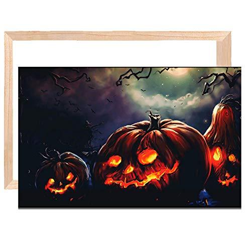 FanyunArt Canvas Frame Kit Cartoon Anime Canvas Painting for Living Room Halloween Pumpkin Wizard Art Paintings,Canvas Stretcher Bars Hoom Decor -20x30inch_