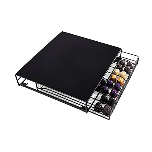 Cassetto Porta Capsule Espresso e Caffè, Contenitore Per 60 Cialde Di Ø 38 mm, Compatibile Con Nespresso, Lavazza, Illy, Borbone, 33 cm x 33,5 cm x 7 cm, Nero