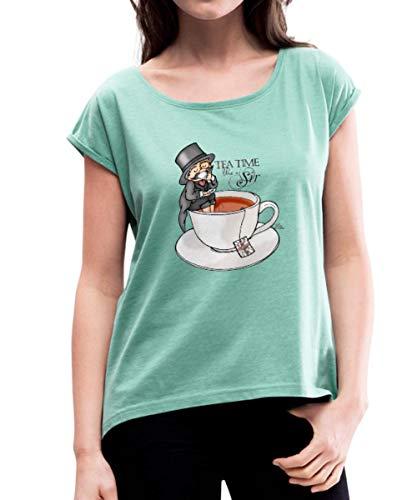 Tea Time Like a Sir Teezeit Teetasse Frauen T-Shirt mit gerollten Ärmeln, XL, Minze meliert
