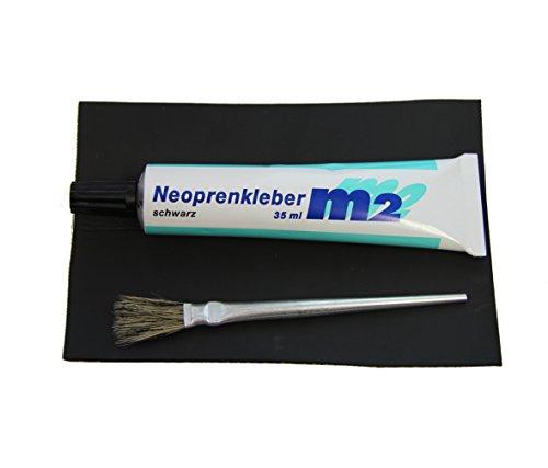 YACHTICON Neopren Reparatur Set für Neoprenanzüge Reparieren von Kite Surf Tauch Bekleidung aus Neopren 35 ml Neoprenkleber + Flicken 10 X 15cm schwarz, Pinsel