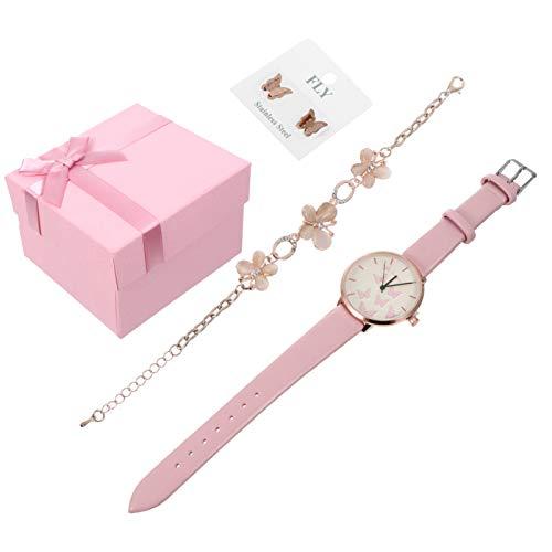 Baluue Rosa Dama Reloj de Cuarzo Pendiente Conjunto de Pulsera Pulsera de Flores de Diamantes de Imitación Pendiente de Mariposa Mujer Hebilla Pulsera de Banda