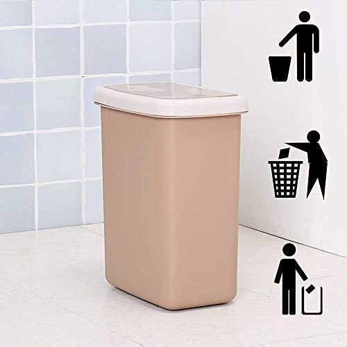 DelongKe Push Type afvalbak slanke vuilnisbak voor keuken toilet Clamshell Cover Pop Up afvalbak bruin
