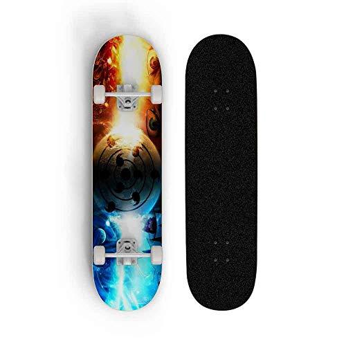 Skwingt 7-Schichten Maple Stunt Skateboard, Cruiser Deck Longboard, Anime Naruto: Uchiha Sasuke und Naruto Uzumaki Skateboard, Cruiser Skateboards Anfänger Komplett 31 Zoll