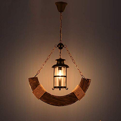 Práctica Simplicidad Familiar Lámpara de Araña Iluminación Colgante Vintage Lámpara Colgante Lámpara de Techo, Luminaria Industrial Madera Maciza Linterna de Vidrio Hierro Metal para Comedor Sala de