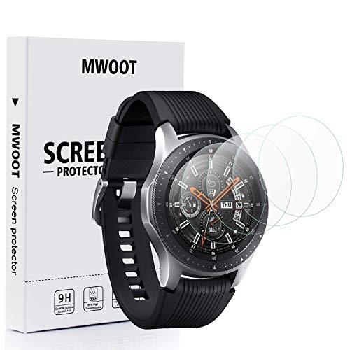 MWOOT 4 Pezzi Pellicole Protettive per Samsung Galaxy Watch 46MM e Samsung Gear S3 Frontier/Classic, Anti Graffi Vetro Temperato per Protezione dello Schermo