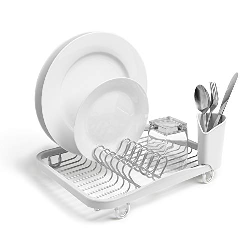 Umbra 330065-670 Sinkin Drying Rack – Dish Drainer Caddy with Removable Cutlery Holder Fits in Sink or on Counter top, Standard, White