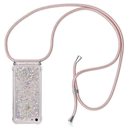 ZHXMALL Bling Handykette für iPhone 5 / 5S / SE, Pouch Bag Mode-Accessoire Handytasche mit Verstellbarer Schultergurt für Junge Männer und Frauen Minimalistischer TPU Hülle