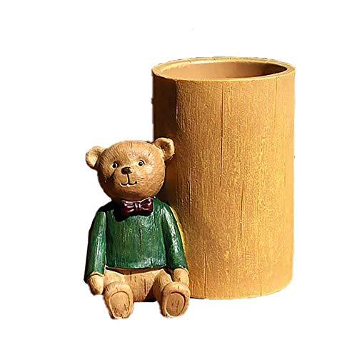 Coalar Portapenne a forma di orsetto, in resina, da scrivania, per studenti, scuola, ufficio, colore: verde