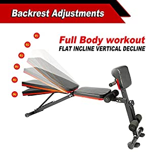 Weight Bench Adjustable, Workout Exercise Equipment for Home Gym, Utility Weight Bench for Full Body Workout, Incline Extension AB Bench for Strength Training Equipment