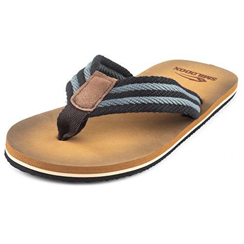 SMILODOX Premium Zehentrenner   Flip Flops ideal für Strandurlaub, Gym & Freizeit   Sandalen mit Fester Sohle - rutschfest - Perfekte Dämmung - Hausschuhe, Farbe:Grau/Schwarz, Größe:40 EU