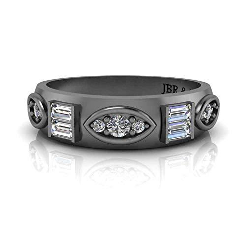 Jbr - Juego de anillos de compromiso unisex de plata de ley con circonita cúbica
