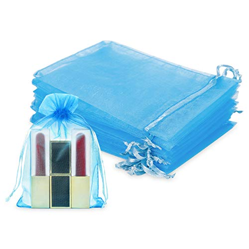 WenTao 100Pcs Premium Sheer Drawstring Organza Bags, 4 x 6 Inch (10x15cm) Pouches Candy Jewelry Party Wedding Favor Gift Bags Blue