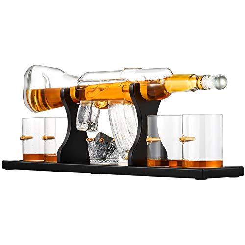 Kacsoo Decantador de whisky Set Decantador de whisky pistola de vidrio con...
