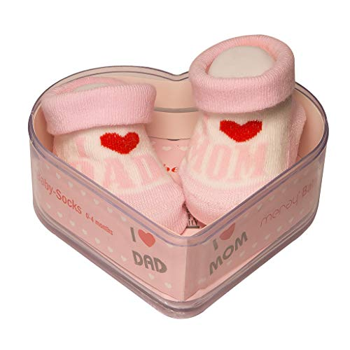 Neugeborene Babysocken 0-4 Monate Baby-Mädchen | Dicke Baumwolle & rutschfeste Griffe | Perfekter Geschenk für Neugeborene Babys & Babyshowers | Rosa