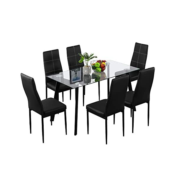 Bonnlo Dining Table with 6 Chairs 7-Piece Kitchen Dining Set Glass Dining Table Set...