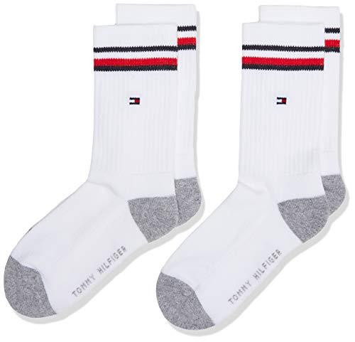 Tommy Hilfiger Unisex Kinder Tommy Hilfiger Iconic Kids' Sports Socken (2 Pack), white, 31-34