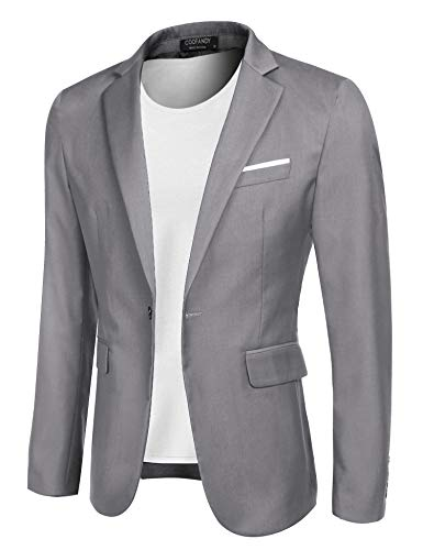COOFANDY Men's Casual Blazer Jacket Slim Fit Sport Coats Lightweight One Button Suit Jacket (Light Grey, Medium+)