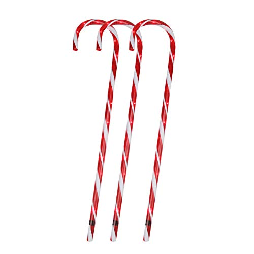 Sienna Pack of 3 Lighted Candy Cane Pathway Markers
