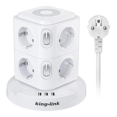 Steckdosenleiste 8Fach mit 3 USB,Mehrfachsteckdose Überspannungsschutz mit Nachtlicht,USB Steckdosenturm mit 2 Unabhängige Schalter,Steckdosen für Zuhause Büro(2500W/10A),2M Kabel, Weiß