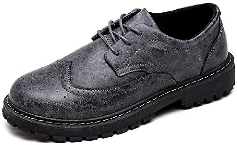 LOVDRAM Men'S Leather shoes Autumn Men'S shoes Fashion Breathable Pu Leather Men'S Single shoes Casual Tooling shoes Leather shoes Fashion shoes