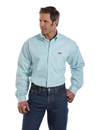 Cinch Men's Flame Resistant Plaid Work Shirt Turquoise Large
