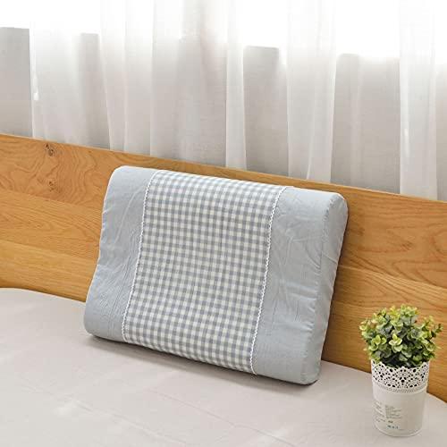 MRBJC Almohada suave para el cuello, diseño de cuadros, para dormir, látex, espuma viscoelástica, almohada para dormir lateral, espalda azul, 60 x 40 x 10/12 cm