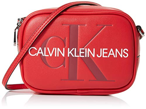 Calvin Klein Sculpted Monogram Camera Bag - Borsa, Donna, Rosso...