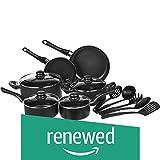 AmazonBasics 15-Piece Non-Stick Kitchen Cookware Set - Pots, Pans and Utensils (Renewed)