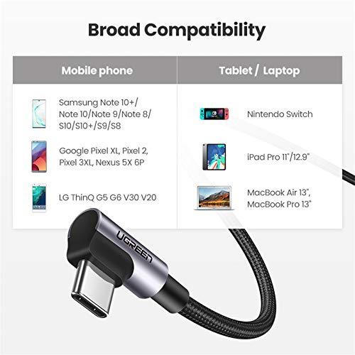 UGREEN USB C auf USB C Kabel doppelte Winkelstecker 3A Power Delivery USB C zu USB C Ladekabel kompatibel mit Galaxy Note20, Tab S6, iPad Pro 2020, Dell XPS 13, Surface Pro 7, Google Pixel 4 usw. (1m)