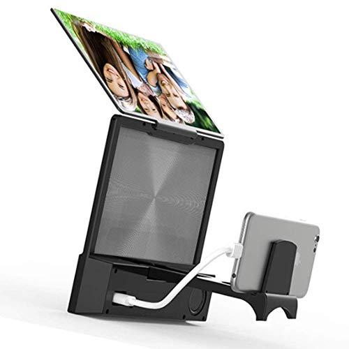 MIEMIE Lente d'Ingrandimento per Schermo del Telefono Cellulare con Altoparlante Bluetooth - Amplificatore per videotelefono 3D, Supporto per Telefono Pigro, Adatto per Film, Video e Giochi