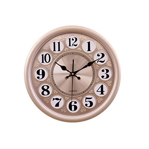 TIANYOU Reloj 14 Pulgadas Pared Moderno Minimalista Creativo Redondo Pared Sala de Estar Dormitorio Moderno Casero Cuarzo Aluminio Mudo decoración hogareña/Style one