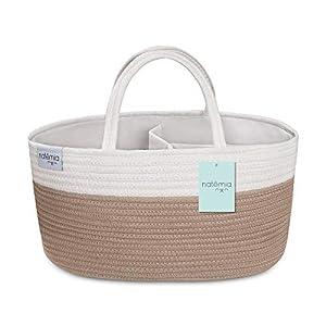 Natemia Rope Diaper Caddy Organizer│Large Portable Nursery Storage Bin