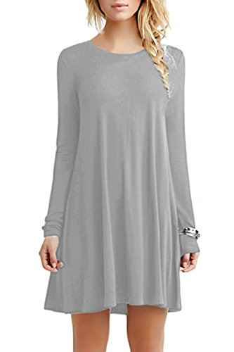 YMING Damen Kleid für Frühling Herbst Casual Blusenkeid Lose Langarm Tunika Plus Größe Hell Grau XXXL