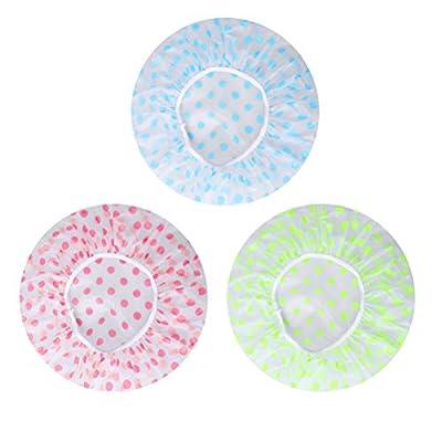 Shower Caps, 3 Pcs Waterproof Bath Caps Plastic Reusable Shower Caps Elastic Band Bath Hair Hat for Women Ladies Spa Salon