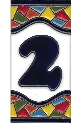 Números casa exterior - Placa Puerta - Cerámica esmaltada - Pintados a Mano con la técnica de la cuerda seca - Nombres y direcciones - Modelo Grande Mosaico 7,5 cms x 15 cms (Número Dos'2')