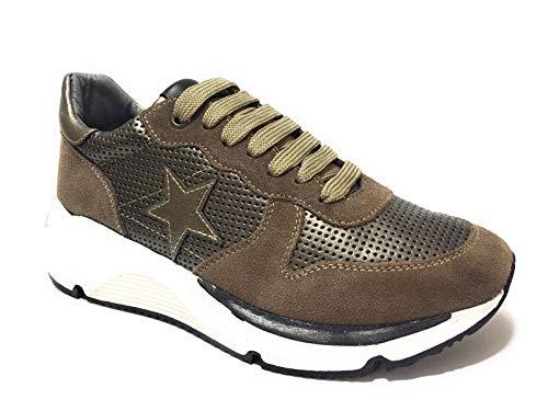 Keys K-2451 - Zapatillas deportivas para mujer Casual Black, Cordón, Taupe, Suede, Zapatillas Woman Beige Size: 39 EU