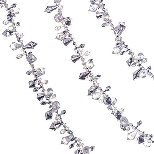 Klikel Iridescent Silver Large Twinkle Ice Double Twist Bead Garland, Set of 2 Each 10 Feet
