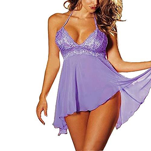 ZODOF Lenceria Mujer Set de 2 Piezas Super Sexy Vestido de Encaje Tentacion De Ropa Interior Talla Extra Lenceria erótica Mujer Lenceria Mujer Sexy(M,Purlie)