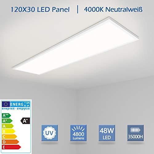[Pro High Lumen]OUBO LED Panel Deckenleuchte 120x30cm Neutralweiß / 48W / 4800lm / 4000K / Weißrahmen Lampe dünn SLIM Ultraslim Deckenleuchte Wandleuchte Einbauleuchten, inkl. Netzteil