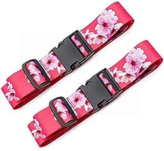 Luggage Straps Suitcase Belts Travel Bag Accessories Adjustable 220CM (Sakura - 2 Pack)