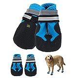 Botas para Perros,4 Piezas zapatos impermeables para perros con correas reflectantes,suela antideslizante,protectores de patas para exteriores,zapatos para perros,para perros pequeños y medianos (XL)