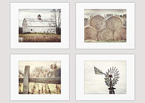 Farmhouse Decor Wall Art Set of 4 Fine Art Prints (Not Framed). Country Rustic Landscape Photographs. Barn Fence Hay Windmill. Beige, Tan, White. (4 11x14 Prints with 16x20 Mats)