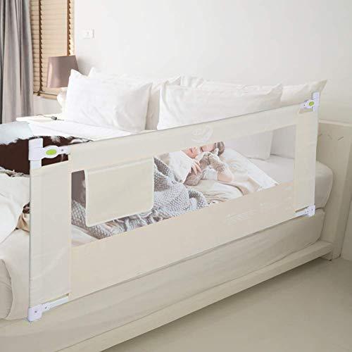 Rieles de cama de bebé Elevación vertical Portátil plegable ajustable Anti-caída Riel de protección de cama para niños pequeños y niños Beige 180 cm