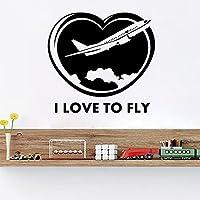 私は飛行機の壁のステッカーの壁のアートデカール家の装飾子供たちの部屋の装飾壁紙ポスター42X40cmを飛ぶのが大好き