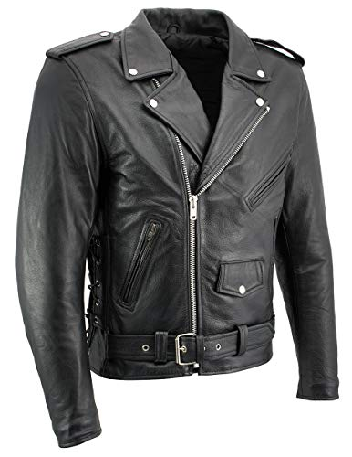 Xelement B7103 'Ruffian' Mens Classic Black Motorcycle Side Lace Leather Jacket with X-Armor Protection - 2X-Large