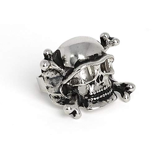 Skeleteen Pirate Skull Costume Ring - Buccaneer Pirate Stainless Steel Jewelry for Dress Up Accessories for Kids and Adults - 1 Piece