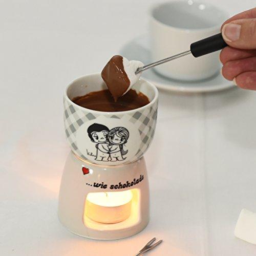 Liebe ist… Schoko-Fondue Set inkl. 2 Fondue-Gabeln – Gratis dazu: 90 g belgische Fondue-Schokolade von Sweet Wishes