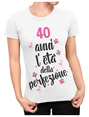 bubbleshirt Regalo 40 Anni Donna l'età della Perfezione - Maglietta Compleanno