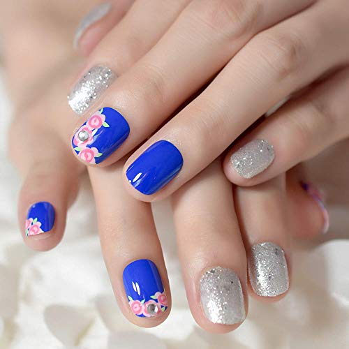 CLOAAE Fake Nails Glitter Silver Blue Sparkly Flower Design Short Artificial Nail Decoration For Daily Use 24